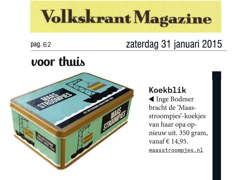 Het Volkskrant Magazine vermeldt het Koekblik met Maastroompjes